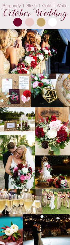 Fall wedding color palette- Burgundy, blush, gold, & white