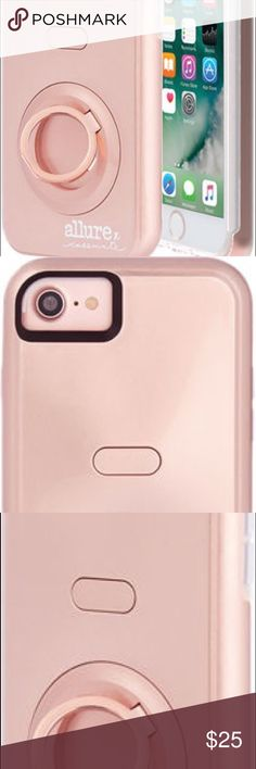 Case-Mate Allure x Selfie Case for iPhone 7 Very good condition.  Comes with a charger for the light-up part that makes you look like a young Cindy Crawford.  Purchased directly from Verizon not that long ago but .... upgrades occur. Case-Mate Accessories Phone Cases