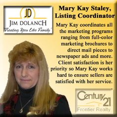 Mary Kay Staley, Listing Coordinator www.jimdolanch.com Office: 724-344-3737 ext 213 Fax: 724.941.9910 Email: MaryKay@JimDolanch.com #PittsburghRealEstate #TheJimDolanchTeam