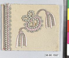 Sample Date: early 19th century Culture: French Medium: Silk and metal thread on felt Dimensions: L. 4 1/4 x W. 3 1/2 inches 10.8 x 8.9 cm Classification: Textiles-Embroidered Credit Line: Gift of The United Piece Dye Works, 1936