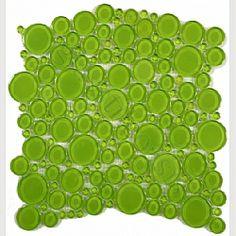 Evergreen Circles Green Bathroom Glossy Glass