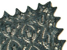 The shawl consists of a rectangular main section and the lace edging is knitted onto the centre part using circular needles. The pattern has both lace charts and written instructions. Shawl Patterns, Knitting Patterns, Crochet Patterns, Lace Knitting, Knit Crochet, Ravelry Free, Pattern Library, Shawls And Wraps, Knitting Projects