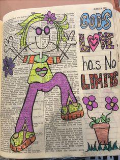 Gods love has no limits. Scripture Art, Bible Art, Bible Scriptures, Book Art, Bible Drawing, Drawing Room, Bible Study Journal, Art Journaling, Christian Crafts