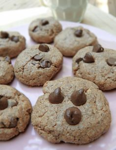 No flour almond butter choc chip cookies