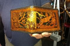 Wallet / Men / Buck Deer in Forest / Custom / Hand Carved and Tooled / Leather / Hand Crafted / Bifold / Man / Men / Mans Leather Wallet