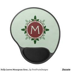 Holly Leaves Monogram Green Red Christmas Holidays Gel Mouse Pad