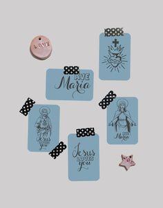 #cartebapteme #cartecommunion Lot de petites cartes – « bleu orage» ©Catho Rétro. A retrouver sur www.cathoretro.com