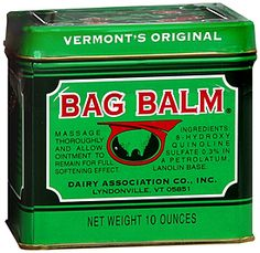 Bag Balm, Shaina Twain's beauty secret (and now, yours) Multi purpose uses: chapped hands & feet. sunburns, cooking burns, abrasions,rough elbows & rough feet. Diaper Rash !! chafing rash the list goes on........