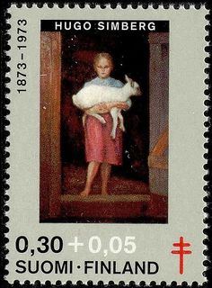 Postage stamp depicting a painting by the Finnish artist Hugo Simberg