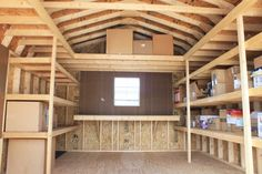Shed Plans - Storage Shed Shelving Ideas More - Now You Can Build ANY Shed In A Weekend Even If You've Zero Woodworking Experience! Storage Shed Organization, Garage Storage Solutions, Attic Storage, Built In Storage, Storage Ideas, Organizing, Workshop Organization, Barn Storage, Diy Storage Shed Kits
