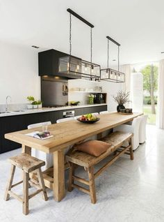Kitchen island ideas for inspiration on creating your own dream kitchen. diy painted small kitchen design – with seating, lighting Teen Girls Bedroom Interior Design Ideas and Color…How to create a cozy and lovely interior in your…SEE ALL Long Narrow Kitchen, Long Kitchen, Kitchen Dinning, New Kitchen, Dining Area, Kitchen Ideas, Narrow Kitchen Island, Wooden Kitchen, Eat In Kitchen Table