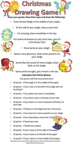 Good for Fall/Winter themed Scentsy Christm… Christmas Themed Blind Drawing Game. Good for Fall/Winter themed Scentsy Christmas Parties, or baby showers, wedding showers, etc. Fun Christmas Party Games, Xmas Games, Holiday Games, Holiday Parties, Holiday Fun, Christmas Decorations, Fun Games, Christmas Trivia, Christmas Activities For Adults
