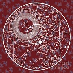 Ten Tie Gallicush Circular - Maroon Print by ©ifourdezign - #DoctorWho #Gallifreyian #Abstract #DigitalArt #Geometry #FineArtAmerica (Please retain ALL credit - TY)