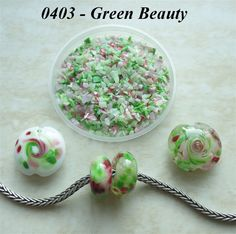 0403 Green Beauty  Glass Frit Blend  K1  COE by BeadTreasures4You
