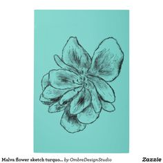 Shop Malva Flower Sketch Turquoise Metal Print created by OmbreDesignStudio. Wood Wall Art, Wall Art Decor, Holiday Cards, Christmas Cards, Turquoise Wall Art, Flower Sketches, Elephant Gifts, Wall Decals, Art Pieces