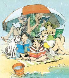 preciosa ilustración lectora lluviosa y veraniega