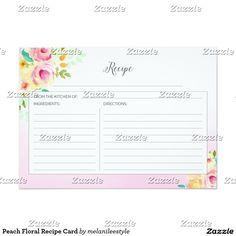Peach Floral Recipe Card
