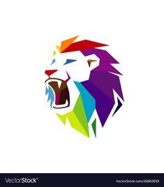 Creative abstract colorful lion head logo vector image on VectorStock Lion Head Logo, Lion Logo, Tiger Logo, Tribal Lion, Tribal Art, Adobe Illustrator, Lion Photography, Lion Art, Illustration