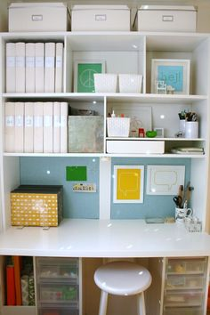Streamline your office with matching labelled binders or photo albums for an organized look.