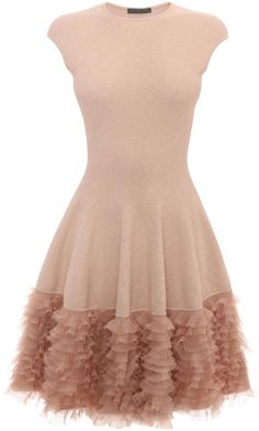 Alexander McQueen Pink Tonal Lace Knit Ruffle Dress Pink Ruffle Dress, Frilly Dresses, Pink Mini Dresses, Pink Lace, Ruffled Dresses, Lace Ruffle, Ruffle Skirt, Vestidos Vintage, Vintage Dresses
