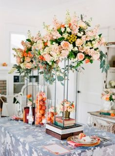 Peach Garden Rose Stock Eucalyptus Centerpiece // photo by Justin DeMutiis Photography, design by FH Weddings #ELV