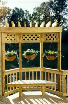 Love the three sided pergola with hanging plants - this would work in our corner! Back Porch Ideas - Bing Images This would look nice on street side of the deck Backyard Deck Ideas On A Budget, Backyard Projects, Outdoor Projects, Backyard Patio, Porch Ideas, Pergola Ideas, Pergola Kits, Deck Trellis Ideas, Patio Ideas