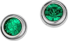 Ασημένια σκουλαρίκια 925 με πράσινη πέτρα SWAROVSKI SK-E3330GL1