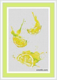 hímzés kereszt rendszerek citrom | Sross öltésminták citrom