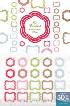 10 #Bracket #Frames and 10 #Flower #Shape Frames - #Photoshop #clip_art - striped outlines - red, green, pink, blue, brown, - #for_invites, #for_labels ... - #download
