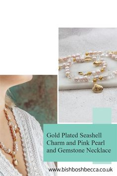 Handstrung with lustrous pink pearl, a modern pearl necklace with natural quartz gemstone and gold plated seashell charms. Create a statement with this look at me necklace.