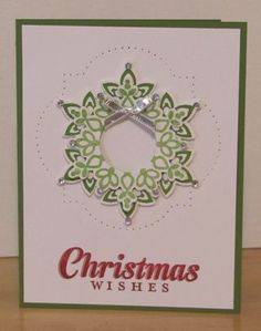 Elegant Christmas Card using the Festive Flurry Stamp Set and Framelits.