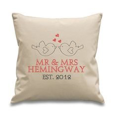 Personalised Cushion Cover - Wedding Anniversary Engagement Gift -Personalized Cushion with Insert -8oz Natural Cotton…