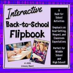 Engaging, student-friendly, interactive, and ready to print-and-go, this Back to School Flipbook will save you loads of time, help you learn about your students and their interests, and will engage your students in back to school activities that are both fun and relevant! Pages include: Tweet All about It, It's a Wonderful life, Goal-Setting, Dreams, 3 Adjectives, and R-E-S-P-E-C-T. Perfect for middle school and high school!