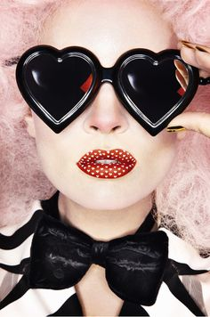 Heart glasses and polka dotted lips!
