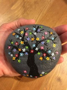 Items similar to Rainbow Blossoms Painted Rock on Etsy - Steine bemalen Stone Art Painting, Dot Art Painting, Pebble Painting, Pebble Art, Rock Painting Patterns, Rock Painting Ideas Easy, Rock Painting Designs, Painted Rocks Craft, Hand Painted Rocks