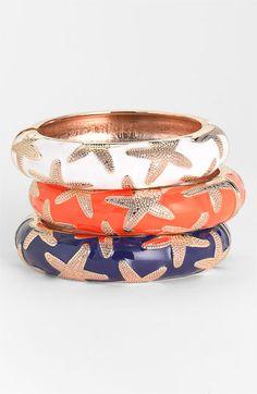 Sequin Large Starfish Enamel Bangle available at Nordstrom Beach Jewelry, Jewelry Box, Jewelery, Jewelry Accessories, Bangle Bracelets, Bangles, Starfish Bracelet, Textiles, Girls Best Friend