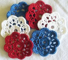 Crochet Applique Flowers  Mini Doilies Red White by IreneStitches, $8.00