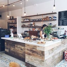 I keep coming back here bcus I mean, what's not to love about this space? Coffee Shop Counter, Cafe Counter, My Coffee Shop, Coffee Store, Coffee Shops Ideas, Rustic Coffee Shop, Vintage Coffee Shops, Coffee Cozy, Bakery Interior