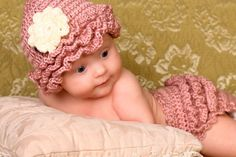 Crochet Diaper Cover and Hat  Pink Ruffles by BoboBeanBoutique, $35.00