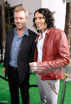 Actors Hugh Laurie and Russell Brand arrive at the Los Angeles premiere of 'Hop' at Universal Studios Hollywood on March 27, 2011 in Universal City, California.