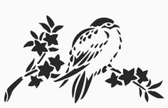 stencil designs free | ... bird on a branch stencil chickadee wall stencil pattern design