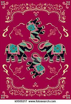 Stock Illustration of Festive typical indian elephant k9509217 ...