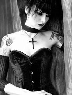 Velvet black Goth bustier, choker, cross necklace.