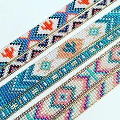 loom beading for beginners Loom Bracelet Patterns, Bead Loom Bracelets, Bead Loom Patterns, Bracelet Crafts, Beaded Jewelry Patterns, Beading Patterns, Hippie Accessories, Bead Loom Designs, Painting Leather