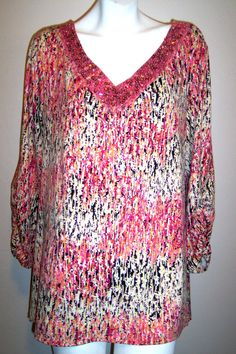 Avenue Top 18 / 20 Pink Artsy Stretch Knit Sequins Neckline Shirt Blouse Tunic  #Avenue #KnitTop #Casual