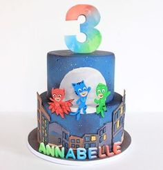 PJ Masks cake for my daughters 3rd birthday. She was so excited when she saw it :) #pjmaskscake #pjmasks #3rdbirthday #birthdaycake #kidscake #sweetsandtreatsbychristina