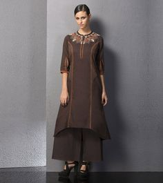 Brown #Embroidered #Khadi #Tunic by #Am:Pm at #Indianroots