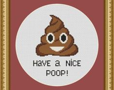 Poop Emoji Cross Stitch PDF Pattern Pee & Poo in by CrazzzyStitch