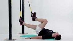 Striedavé príťahy kolien k hrudi v ľahu na chrbte s nohami na TRX Trx, Gym Equipment, Baseball, Workout Equipment