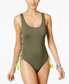 Vince Camuto Lace-Up One-Piece Swimsuit - Swimwear - Women - Macy's